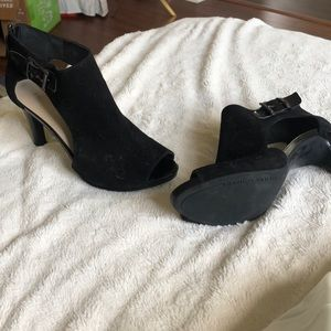 Suede and patent leather open toe sandal/bootie
